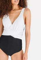 Lithe - Wrap Front One Piece Black and White