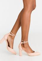 POLO - Blair Ankle-tie Blocked Heel Courts Pale Pink