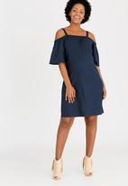 edit Maternity - Linen Off the Shoulder Dress Navy