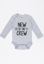 Funky Shop - New to the crew baby grow - grey