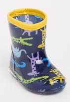 POP CANDY - Animal printed boot - blue & yellow