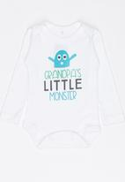Funky Shop - Little monster baby grow - white
