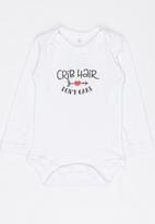 Funky Shop - Crib hair dont care baby grow - white