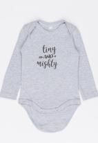 Funky Shop - Tiny and mighty baby grow - grey melange