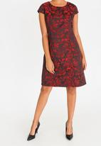 G Couture - Cap Sleeve Shift Dress Red