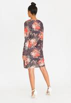 G Couture - Vintage Rose Printed Dress Grey