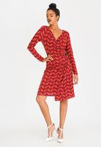 G Couture - Printed Wrap Dress with Buckle Detail Red