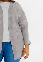 Lu-May - Cable Knit Batwing Cardi Grey