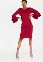 edit - Shift Dress with Frill Sleeves Dark Red