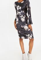 edit - Printed Velvet Bell Sleeve Dress Multi-colour