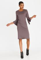 edit - Shift Dress with Frill Sleeves Taupe