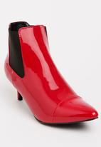 Seduction - Patent Booties Red