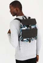 STYLE REPUBLIC - Leather & Camo Combo Backpack Blue