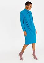 edit - Shift Dress with Drape Neck Detail Mid Blue