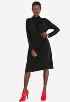 edit - Shift Dress with Drape Neck Detail Black