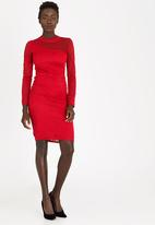 edit - Mesh Inset Lace Bodycon Dress Red