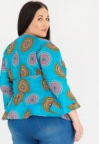 Plus-Fab - Print Wrap Top Turquoise