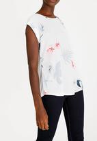 Revenge - Cap Sleeve Floral Top White