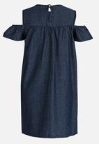 Twin Clothing - Cold Shoulder Chambrey Denim Dress Navy