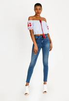 Brave Soul - Cropped Embroidered Top Blue and White