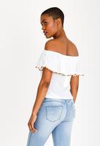 76b9218b0fc Off Shoulder Pom-Pom Top White Brave Soul T-Shirts, Vests & Camis ...