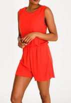 Brave Soul - Frilled Sleeve Playsuit Red