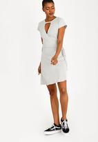 Brave Soul - Ribbed Wrap-over Dress Grey