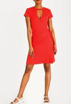 Brave Soul - Ribbed wrap-over dress - red