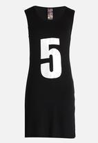 Twin Clothing - Hooded Print Dress Black