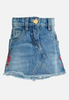 MINOTI - Utility Rose Embroidered Denim Skirt Blue