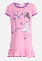 Twin Clothing - Printed Short Sleeve Nighty Dress Pale Purple