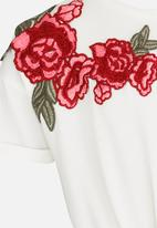 MINOTI - Utility Rose Embroidered Tie Top Off White