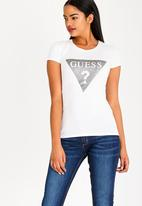 GUESS - Guess Holo Tri Logo Tee White