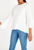 Brave Soul - Fluted Sleeve Top Cream