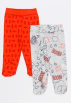 Baby Corner - 2 Pack Footed Pants Red