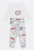 Baby Corner - Super Boy 2 Piece Side Snap Bodysuit Footed Pants White