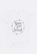 Funky Shop - You are so loved baby grow - white