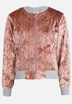 Rebel Republic - Velvet Bomber Jacket Pale Pink