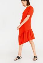 STYLE REPUBLIC - Frill Detail T-Shirt Dress Orange