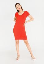 c(inch) - V-Neckline Bodycon Dress Orange