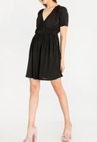 c(inch) - Mock Wrap Dress Black