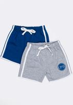 POP CANDY - Printed 2 pack shorts - grey and blue