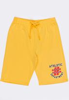 Twin Clothing - Athletic Printed Fleece Drawstring Shorts Yellow