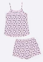 Twin Clothing - Palm Tree Printed PJ Set Pale Pink