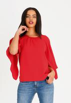 edit - Volume sleeve blouse - red