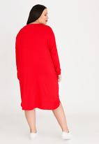 STYLE REPUBLIC PLUS - 3/4 Sleeve T-shirt Dress with Pockets Red