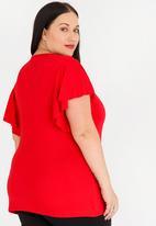 edit Plus - Flutter Sleeve Top Red