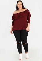 edit Plus - Bardot Top with Frill Burgundy