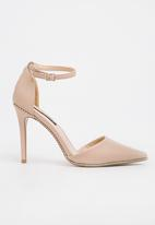 Cherry Collection - Embellished ankle strap heels - neutral
