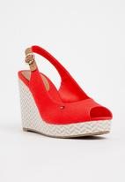 Tommy Hilfiger - Slingback Wedges Red